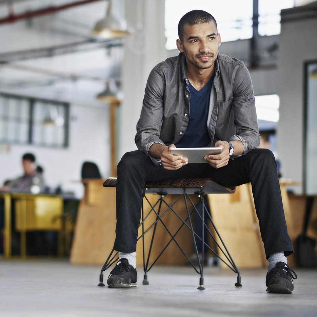 Man sitting in shared office